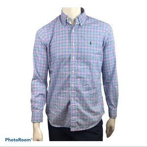 Ralph Lauren Men's Button Down Plaid Dress Shirt